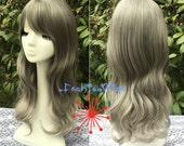 Granny Silver Two Colors Ombre Wavy Daily Use Wig, 60 cm Long Costume Cosplay Wigs for Party UF344