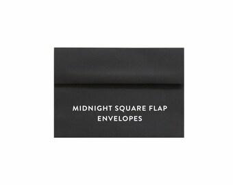 "MIDNIGHT BLACK A7 Envelopes, 5.25"" x 7.25"" Envelope, Bridal Shower, Baby Shower, Wedding, Bachelorette Party, Graduation, Birth Announcement"