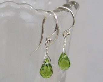 Peridot Earrings in Sterling Silver, Peridot Birthstone Earrings, Peridot Gemstone, August Birthstone, Wedding Jewelry, Bride Earrings