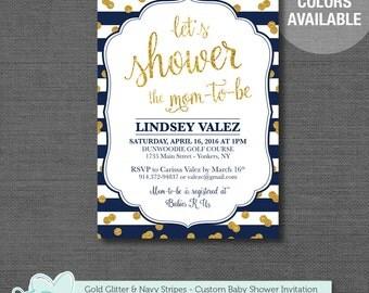 Gold Glitter and Navy Stripes Baby Shower Invitation, Printable, Baby Shower Invite, Boy, Girl, Gender Neutral, Printable Invitation, 1G