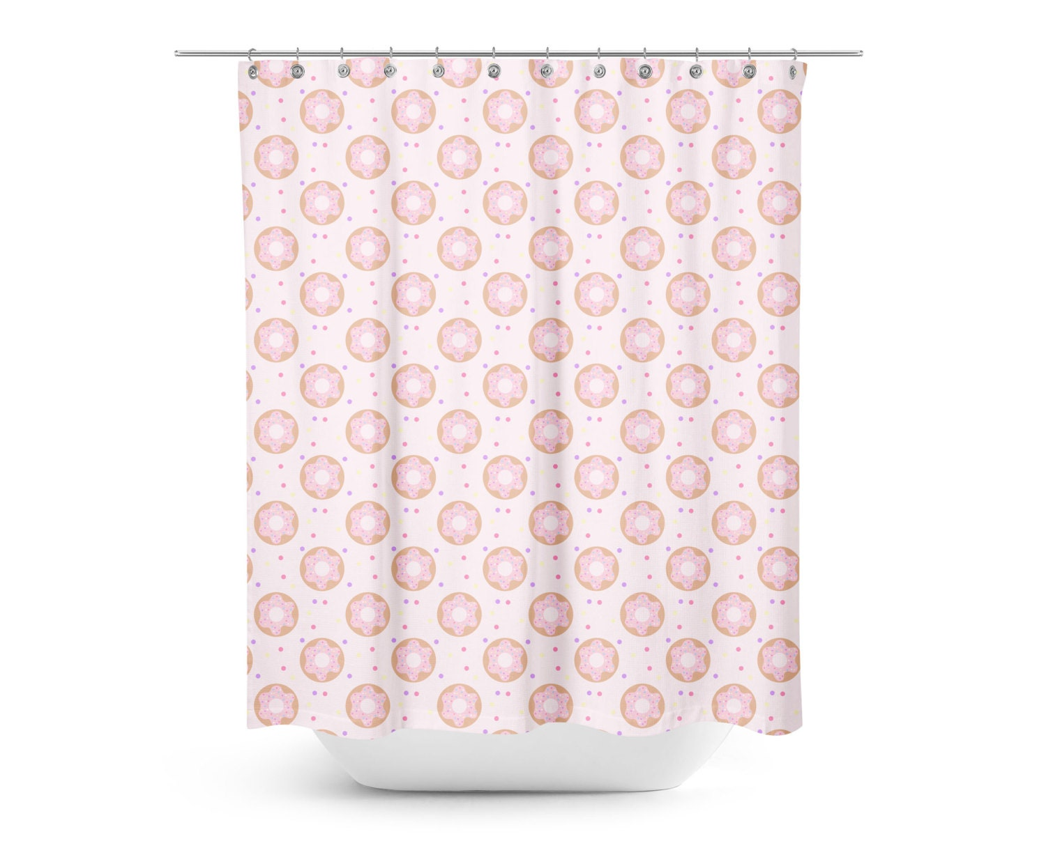 Minimal Pink Donuts Shower Curtain Kids Shower Curtain Mod