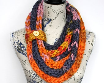 Knit Infinity Scarf - Chunky Winter Scarf - Knitted Shawl - Knit Loop Scarf - Knit Scarf Necklace - Knit Cowl - Unique Gift for Her