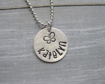 Butterfly Necklace Name Necklace Sterling Silver Hand Stamped Personalized Jewelry Girls Best Friend Tween Teen Gift Custom Necklace