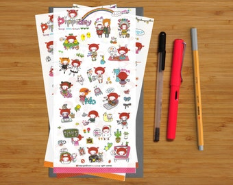 Transparent Diary Stickers - Pippa Day - 016 - Six Sheets of Stickers