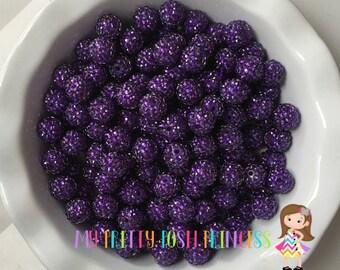 16mm Dark Purple Rhinestones Acrylic Chunky Bubble Gum Beads *Choose How Many