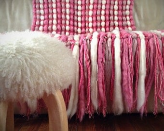 Pink Chunky Blanket, Pink Wool Blanket, Chunky Knit Throw, Pure Wool Throw, Poncho Blanket, Girl Nursery Decor
