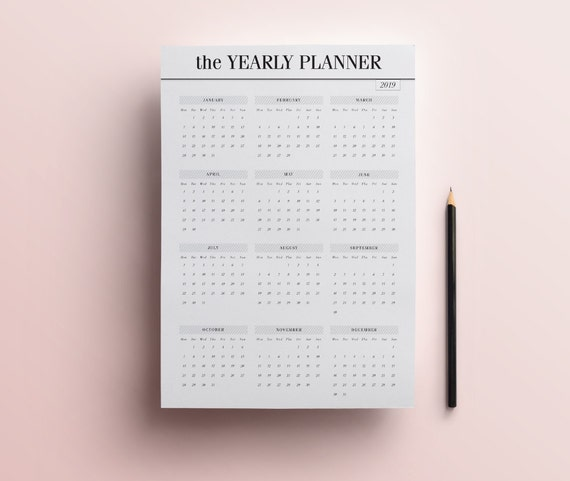 2019 Year At A Glance Yearly Planner Insert Printable Year