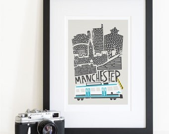 Manchester City Print, Travel Art, Living Room Wall Art, Mid Century Cityscape, Skyline, Britain, Husband Wife Gift, Illustrated Print
