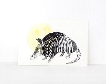 Armadillo art. Armadillo original ink illustration. Armadillo wall art. Wild animal art. Black and yellow. Unusual wall art. Modern wall art