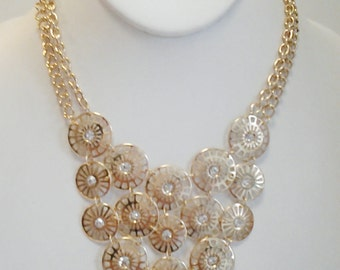 Gold Chain Circles with Crystal Clear Stones Necklace / Gold Circles Crystal Clear Stones Bib Necklace.
