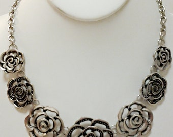Silver Flowers Chain Necklace / Silver Roses Bib Necklace.