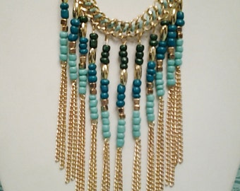 Gold Chain Cascade Teal Necklace / Bib Necklace.