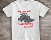 Valentines Day kids t-shirt for boys personalized bulldozer big trucks Gifts for kids baby love hearts daddy and me men's clothing- a359