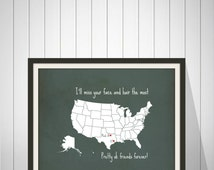 Best Friend Long Distance Present, Going Away Gift for BFF, Sister Gift, Birthday Gift for Best Friend, Two-State Personalized Map - 48677