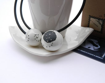 Porcelain and silver Bead Necklace