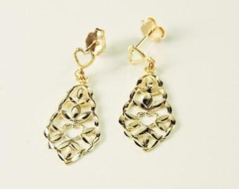 14k Yellow Gold Filigree Textured Heart Earrings