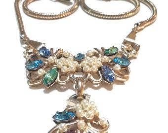Pearls & Rhinestones Bib Necklace, Pastel Shades, Renaissane Revival, Signed Barclay, Spring Jewelry, Wedding Jewelry, 1950s, Vintage
