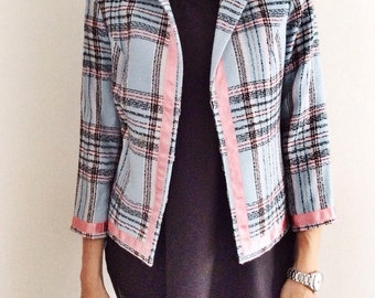 70s women vintage jacket // tailored blues jacket // squares //  jacket size M // vintage jacket // chic elegant jacket // 3/4 sleeves