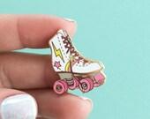 Roller Skate Enamel Pin, Flair – Lapel, Hard Enamel – Roller Derby Girl – Gold, White, Pink