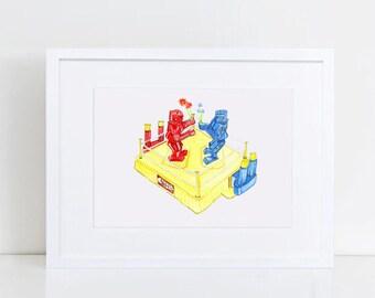 Rock Em Sock Em Robot Art - Robot Art Watercolor - Vintage Toy Art - Original Art Print