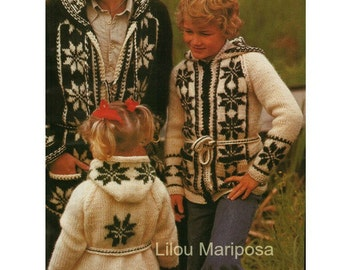Sweater Pattern Cardigan Pattern Mexican Sweater Pattern Aran Sweater Jacket pattern Vintage 70s KNITTING PATTERN Nordic Sweaters-3 patterns