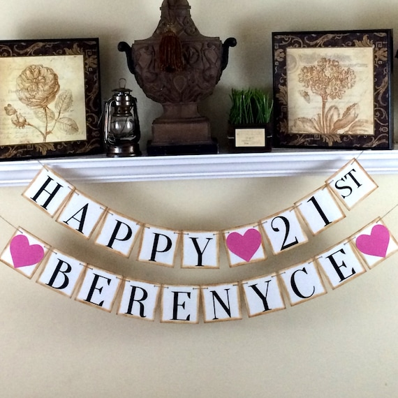 Happy 21st Birthday Banner / Personalized By WeefersDesigns