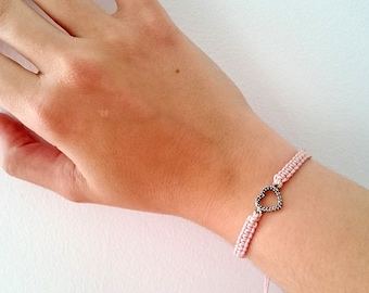 Macrame bracelet, heart silver color, pink and beige. Christmas gift.