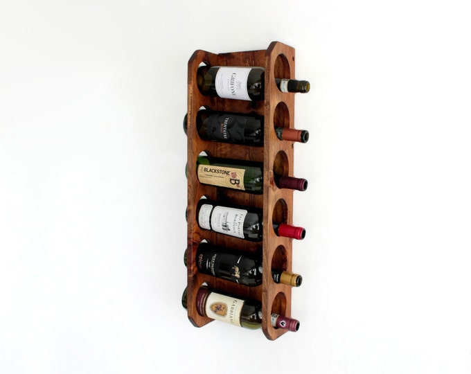Wood Wall Wine Rack - 6-Bottle Wine Storage Display