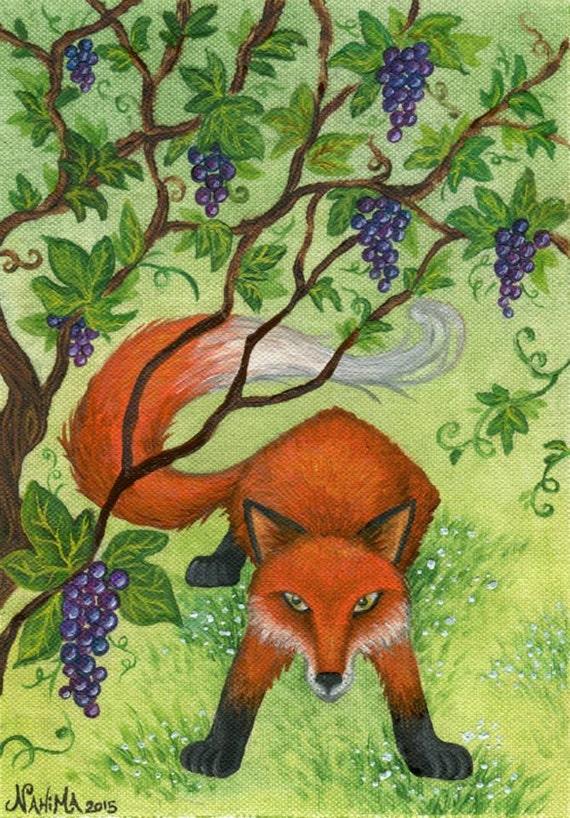 La volpe e l 39 uva illustrazione favole di esopo - Immagini di volpe spugna a colori ...