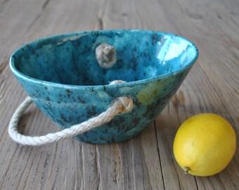 Turquoise Ceramic Basket, Handmade Pottery, Serving Dish, Fruit Bowl, Home Decor, Gift