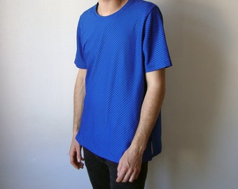 SALE // blue tee -normcore, tshirt, shirt, ribbed, stripes, basic, cyberwave, indie, 80s, 90s, vapor wave, clubkid, casual, striped, klein-