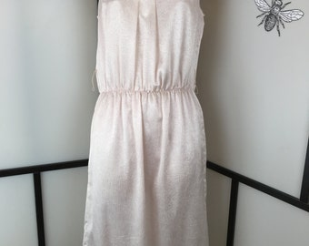 Light Pink Dress, Vintage Women's Dress, High Neck Satin Dress, Summer Dress, Size Medium