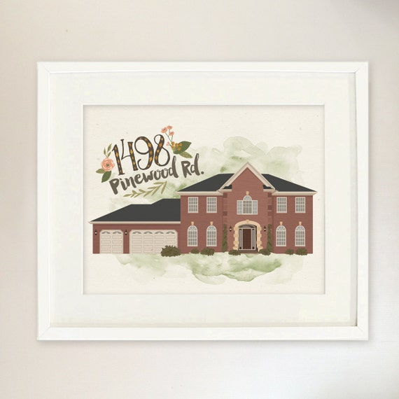 House Portrait Custom Illustrated Home Closing Gift