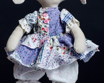 Rag Bunny Doll, Art Doll, Collectible Doll, Cloth Doll, Fabric Doll