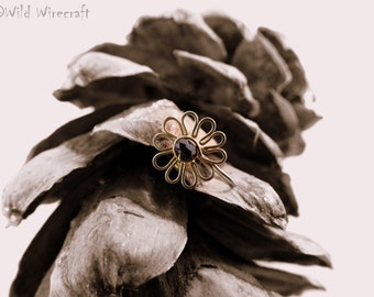 Black Flower Faux nose ring/Fake Nose Ring/Wire Wrapped jewelry/Handmade/Brass Nose Ring/Body Jewelry/Free Combined Shipping/Nose Clip on