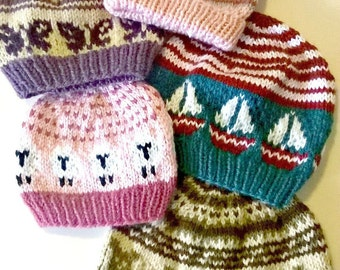 Fair Isle Baby Hat PDF Pattern, Knit Baby Hat Pattern PDF