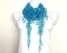 2 SCARVES!!! Aqua Blue Lace Scarf, Women Boho Style, Necklace, Neck Wrap, Triangular Headband, Turquoise Bandeau, Blue Shawl, Blue Bandana
