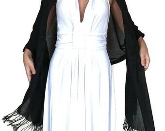 Black Wedding Shawl, Black Bridal Shawl, Black Pashmina, Bridesmaid Shawl, Bridal Scarf, Sheeny Scarf, Evening Wrap, Bridesmaid Gift