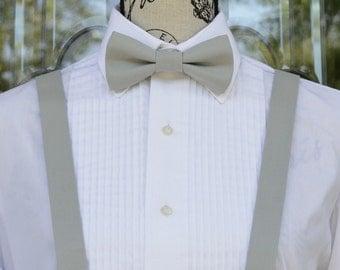 Silver Gray Bow Tie/Suspender - 183B - Weddings - Grooms - Groomsmen - Ringbearer - Grads - Graduation - Suspenders - Bowties - Adjustable