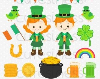 St Patrick's Clipart, St Patrick's Day Clipart, St Patrick Clipart, leprechaun Clipart, Clover leaf clipart