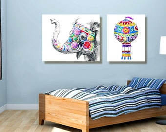 elephant art, childrens art, set of prints, nursery decor, nursery art, kids art, hot air balloon, children's room decor, canvas, nursery