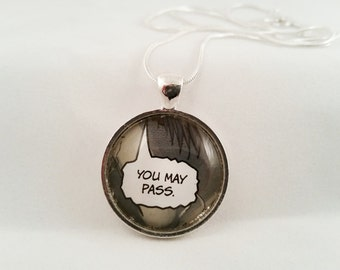 """Upcycled Comic Book """"You May Pass."""" Necklace, Glass Dome Necklace, Superhero Comic Book Necklace"""