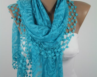 Something Blue Lace Scarf Turquoise Scarf Shawl Summer Blue Wedding Scarf Wrap Shawl Scarf Cover Up Bridesmaids Gifts Bridal Accessories