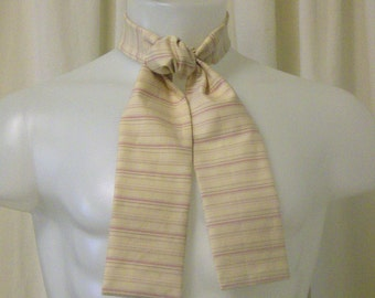 Ascot/Jabot Tie, Beige & Pink Pin-Stripe Cotton/ Rayon Fabric