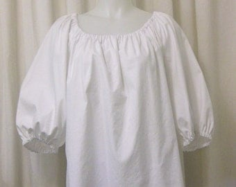 Bright White Cotton 3/4 Sleeve Pirate Peasant Blouse, Size M/L