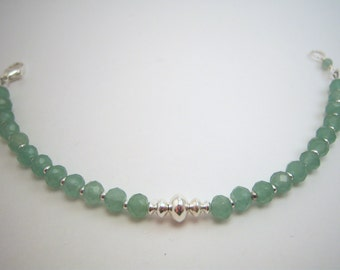 Faceted Green Aventurine & Sterling Silver Bracelet