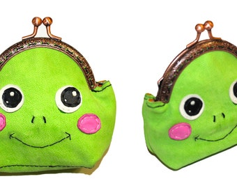Leather purse cute frog