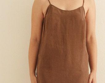 90s minimalist brown viscose/silk strap dress
