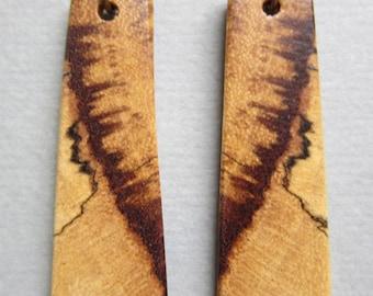 Long Rectangle Spalted Tamarind, Exotic Wood Earrings Handmade ExoticWoodJewelryAnd Ecofriendly repurposed