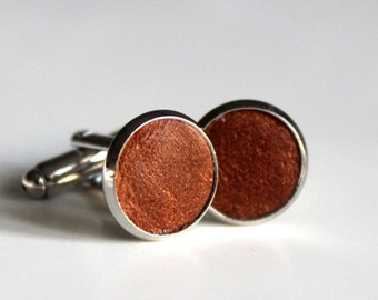 Distressed Tan Leather cufflinks | Wedding Cuff links Groom | Gift for men l Groomsmen cufflinks | Anniversary gift